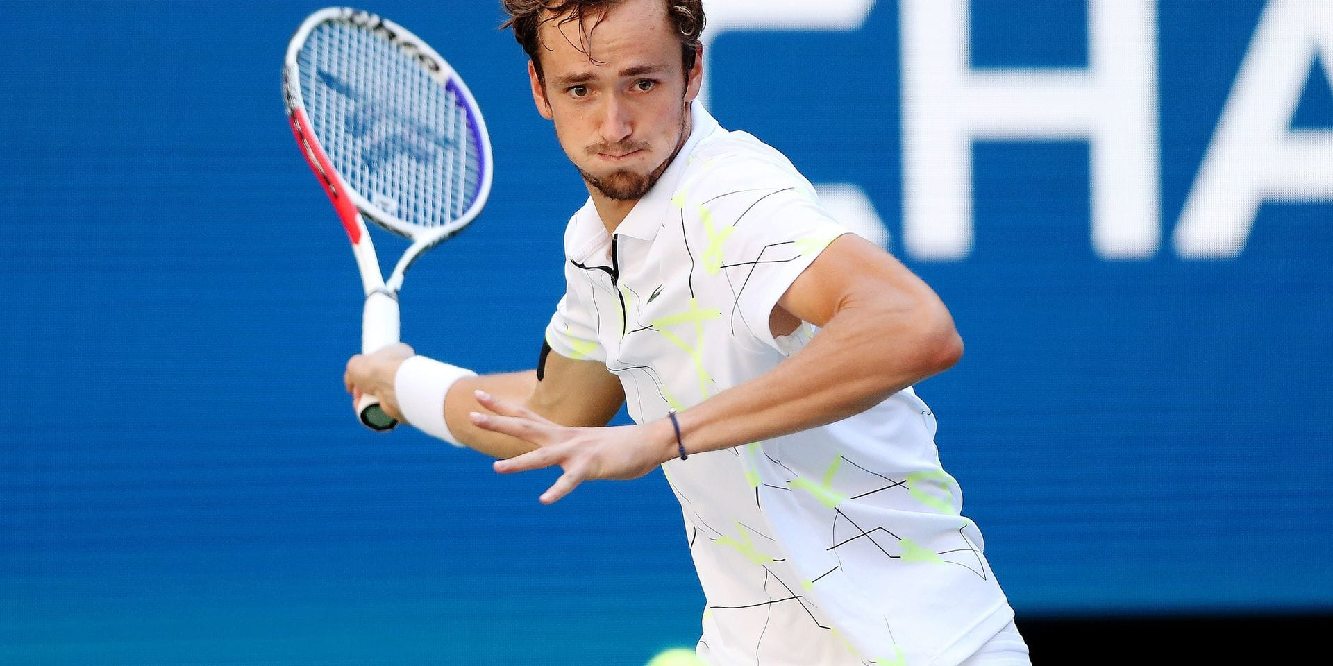 NEW YORK, NEW YORK - SEPTEMBER 03: Daniil Medvedev of Russia returns a shot during his Men's Singles quarterfinal match against Stan Wawrinka of Switzerland on day nine of the 2019 US Open at the USTA Billie Jean King National Tennis Center on September 03, 2019 in the Queens borough of New York City. Matthew Stockman/Getty Images/AFP == FOR NEWSPAPERS, INTERNET, TELCOS & TELEVISION USE ONLY ==