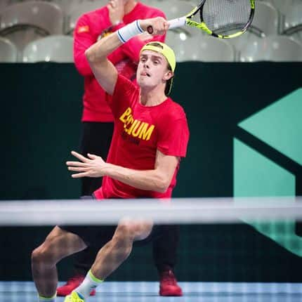 Belgian captain Johan Van Herck (rear) and Belgian Arthur De Greef pictured during a training ahead of the Davis Cup World Group final between France and Belgium, Tuesday 21 November 2017, in Villeneuve-d'Ascq. The Davis Cup game will be played from 24 to 26 November 2017 in stade Pierre-Mauroy in Lille, France. BELGA PHOTO BENOIT DOPPAGNE