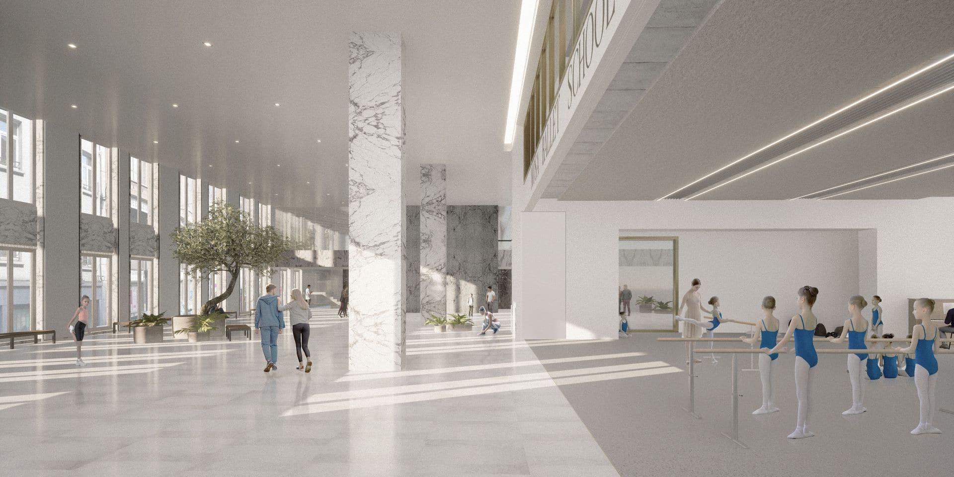Les futurs élèves de la Mosa Ballet School bénéficieront d'une infrastructure unique, avec, entre autres, neuf studios de danse, aménagés dans l'ancien siège de la BNB à Liège.