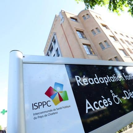 Illustration shows the logo of ISPPC around the headquarters of the ISPPC, the public health intercommunal of Charleroi region (Pays de Charleroi), Tuesday 06 June 2017. The medical director of ISPPC was suspended and there are suspicions of embezzlement of public funds. BELGA PHOTO VIRGINIE LEFOUR