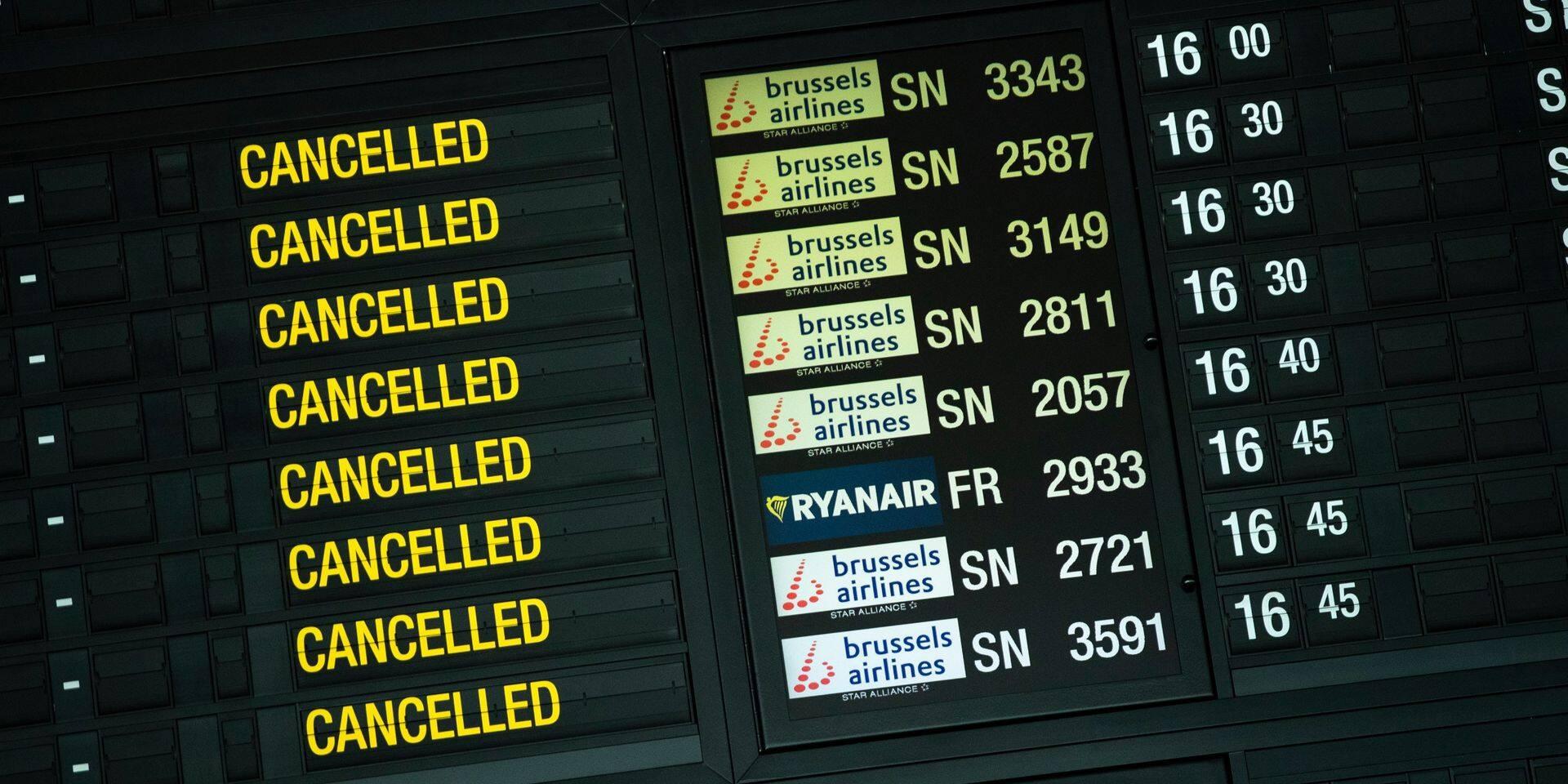 La pandémie a eu un impact important sur les aéroports belges: le nombre de passagers a diminué de trois quarts, les vols de moitié