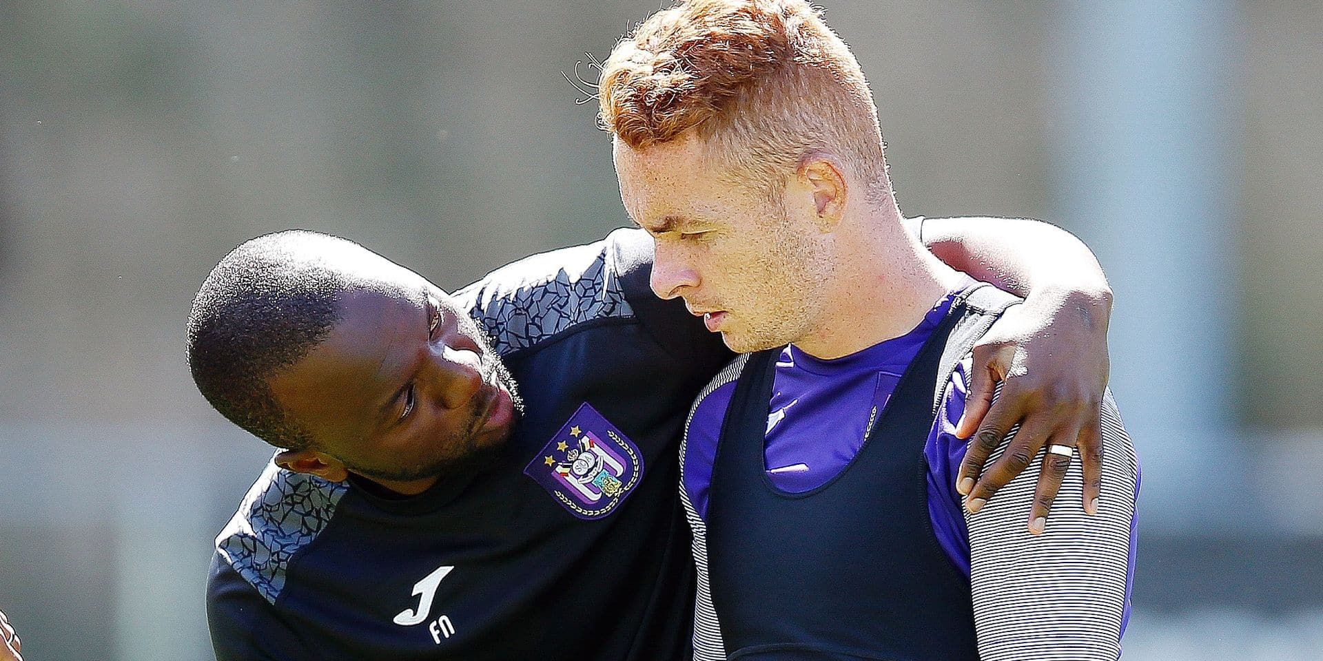 Anderlecht's assistant coach Foribert Ngalula and Anderlecht's Adrien Trebel pictured during a training session of Belgian soccer team RSC Anderlecht at their summer camp, Thursday 04 July 2019 in Venlo, The Netherlands, in preparation of the upcoming 2019-2020 Jupiler Pro League season. BELGA PHOTO BRUNO FAHY