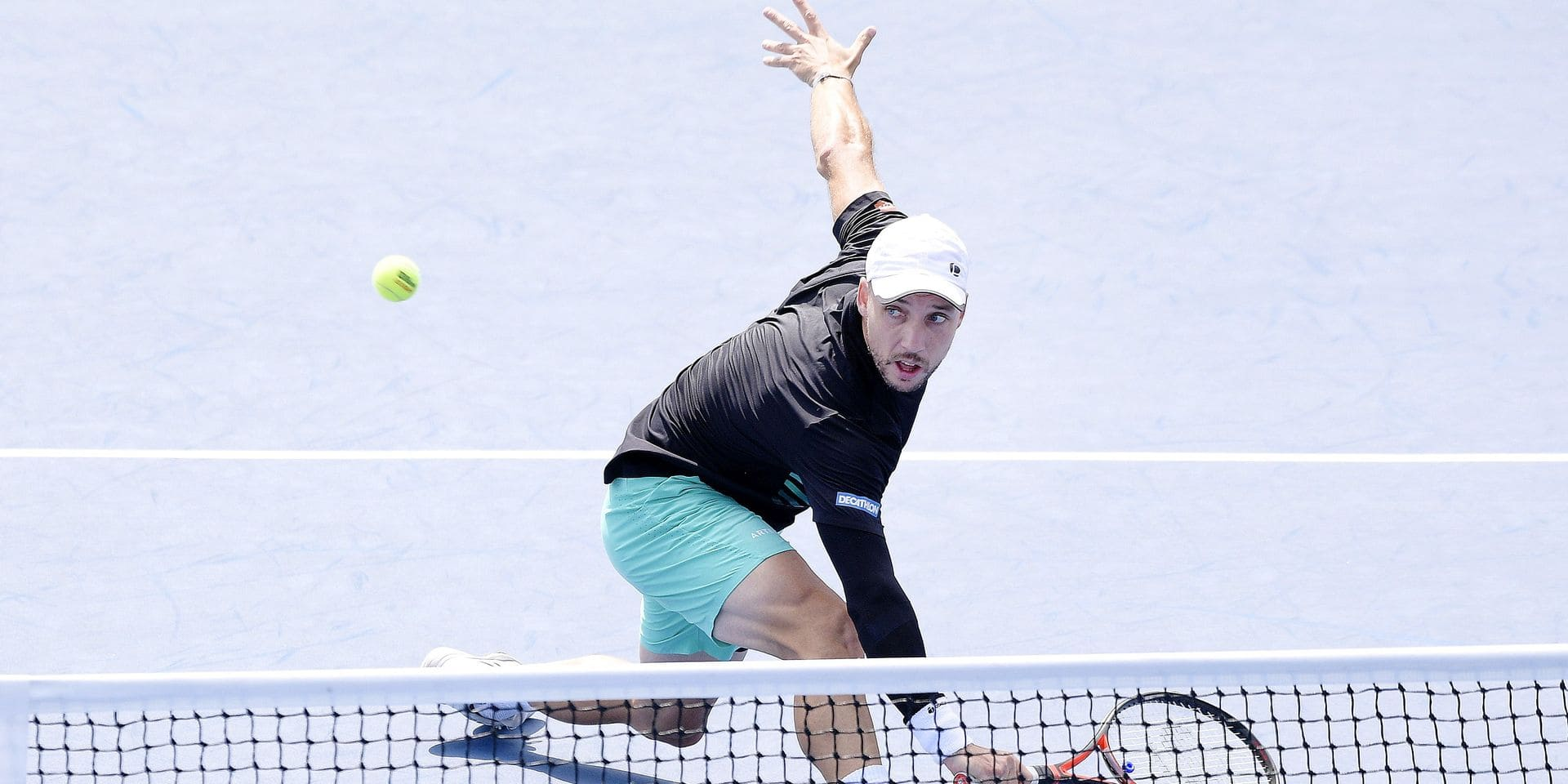 Belgian Steve Darcis pictured in action during a first round game between Belgian Steve Darcis (ATP 186) and Serbian Dusan Lajovic (ATP 29) at the Men's Singles of the US Open Grand Slam tennis tournament, at Flushing Meadow, in New York City, USA, Monday 26 August 2019. BELGA PHOTO YORICK JANSENS