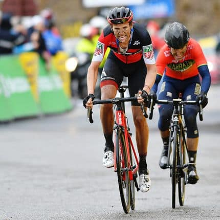 Belgian Dylan Teuns of BMC Racing Team crosses the finish line of the sixth stage of the 76th edition of Paris-Nice cycling race, 188km from Sisteron to Vence, France, Friday 09 March 2018. The race starts on the 4th and ends on the 11th of March. BELGA PHOTO DAVID STOCKMAN