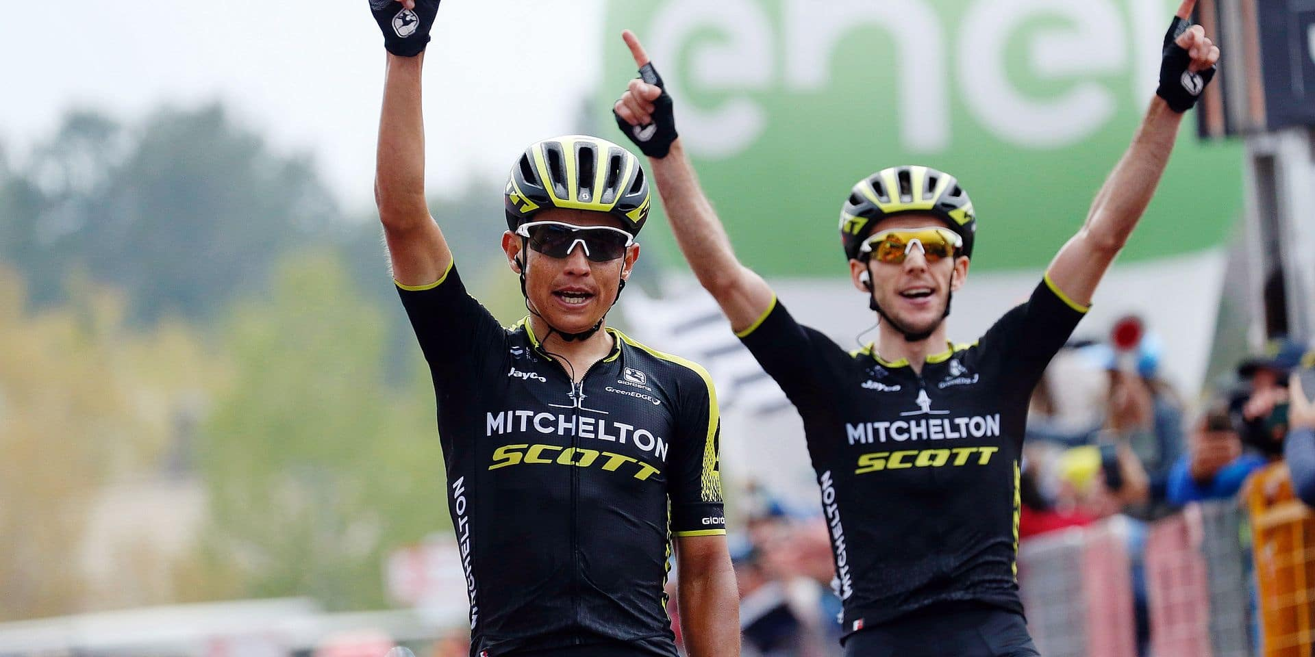 Colombian Esteban Chaves of Mitchelton - Scott and Britain's Simon Yates of Mitchelton - Scott celebrates after stage 6 of the 101st edition of the Giro D'Italia cycling tour, 164km from Caltanissetta to Etna, Italy, Thursday 10 May 2018. BELGA PHOTO YUZURU SUNADA FRANCE OUT