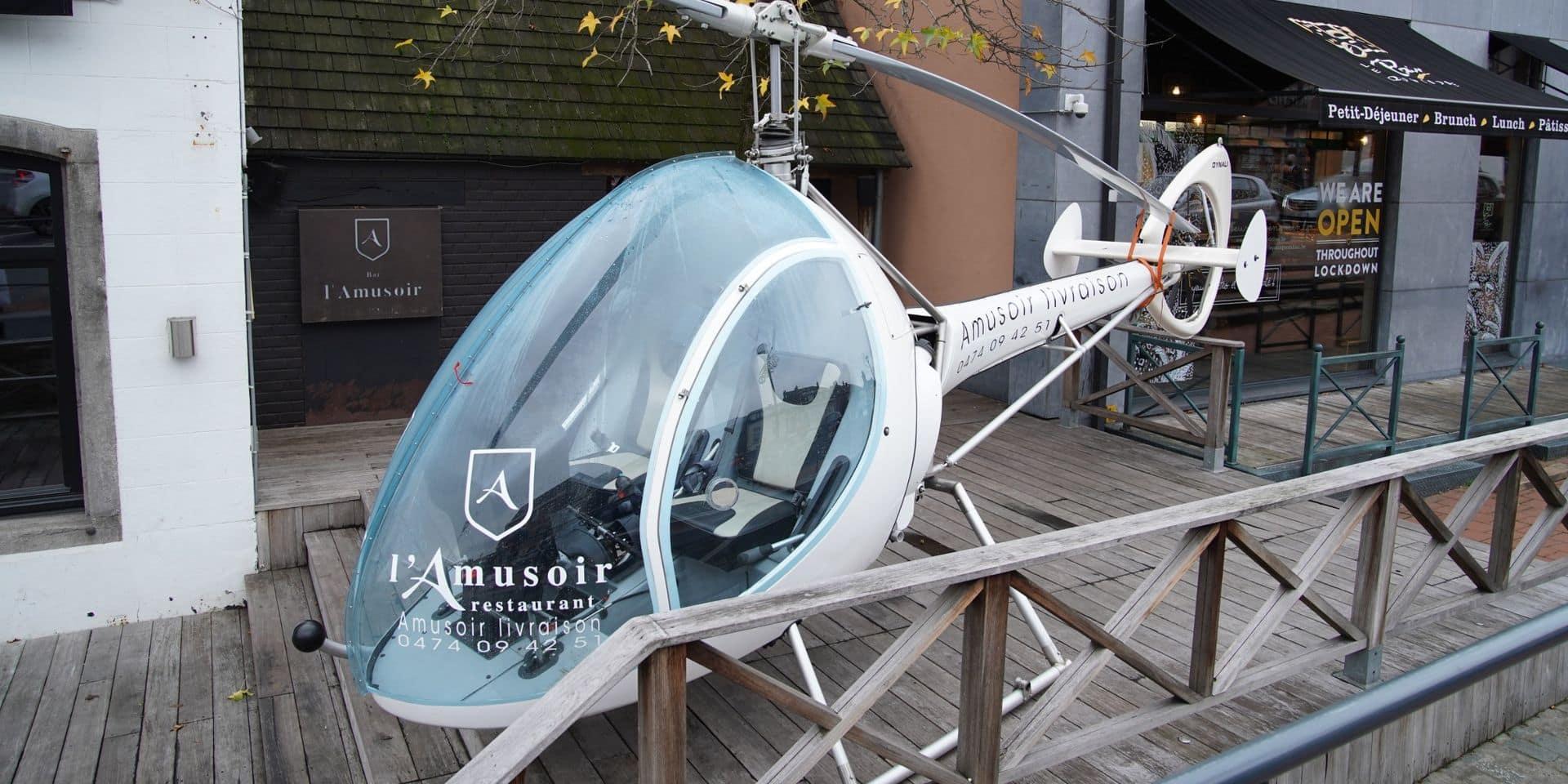 Des livraisons en hélicoptère: le buzz réussi du resto L'Amusoir, à Waterloo (VIDEO)