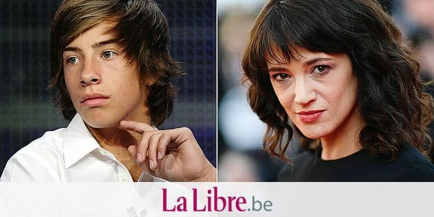 """(COMBO) This combination of pictures created on August 19, 2018 shows a file photo of actor Jimmy Bennett onstage during the 'No Ordinary Family' panel during the summer Television Critics Association press tour on August 1, 2010 in Beverly Hills, California and a file photo of Italian actress Asia Argento as she arrives on May 19, 2018 for the closing ceremony and the screening of the film """"The Man Who Killed Don Quixote"""" at the 71st edition of the Cannes Film Festival in Cannes, southern France. - Italian actress Asia Argento, who became a leading figure in the #MeToo movement after accusing powerhouse producer Harvey Weinstein of rape, paid hush money to a man who claimed she sexually assaulted him when he was 17, The New York Times reported Sunday. (Photos by Frederick M. Brown and Loic VENANCE / various sources / AFP)"""