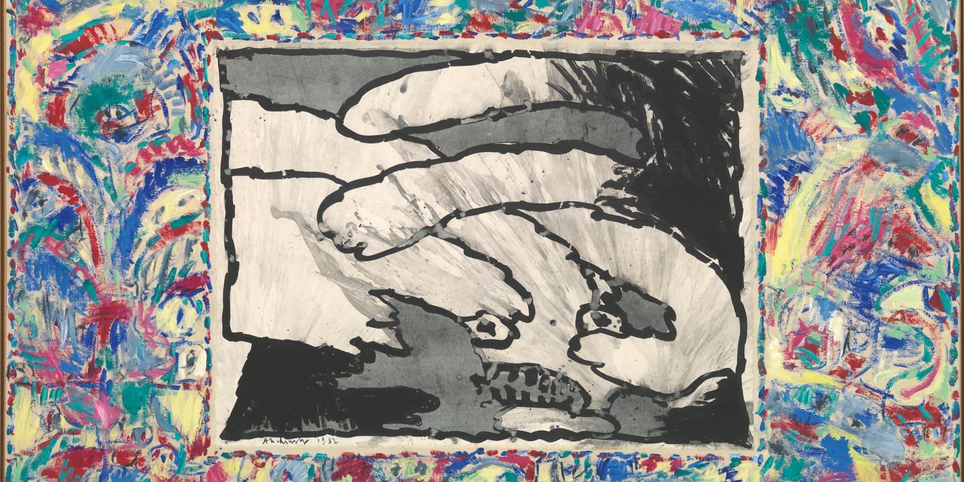 De toutes parts, 1982, Encre sur papier marouflé sur toile, peinture acrylique sur toile (bords), 186 x 285 cm
