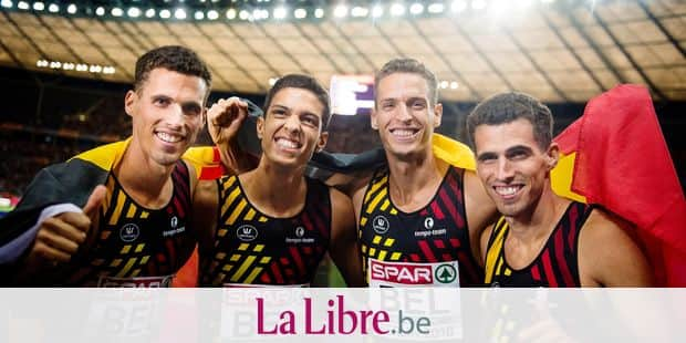 Belgian athlete Kevin Borlee, Jonathan Sacoor, Belgian athlete Dylan Borlee and Belgian athlete Jonathan Borlee celebrate after winning the final of the men's relay 4 x 400m race at the European Athletics Championships, in Berlin, Germany, Saturday 11 August 2018. The European Athletics championships are held in Berlin from 07 to 12 August. BELGA PHOTO JASPER JACOBS