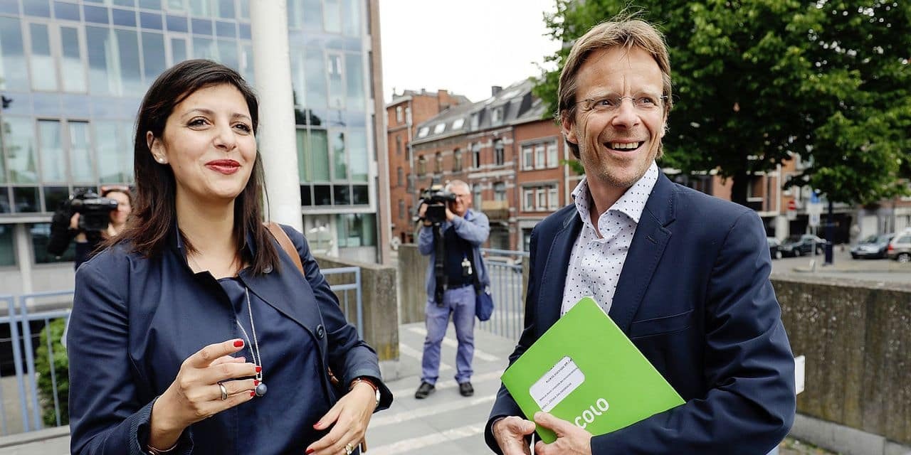 Ecolo co-chairwoman Zakia Khattabi and Ecolo chairman Patrick Dupriez leave after a meeting between the chairmen of French-speaking Christian democrat humanist cdH, French-speaking green party Ecolo and French-speaking liberals MR in Namur, Tuesday 11 July 2017. cdH invited other parties to find new majorities without socialists in regional governments. BELGA PHOTO THIERRY ROGE