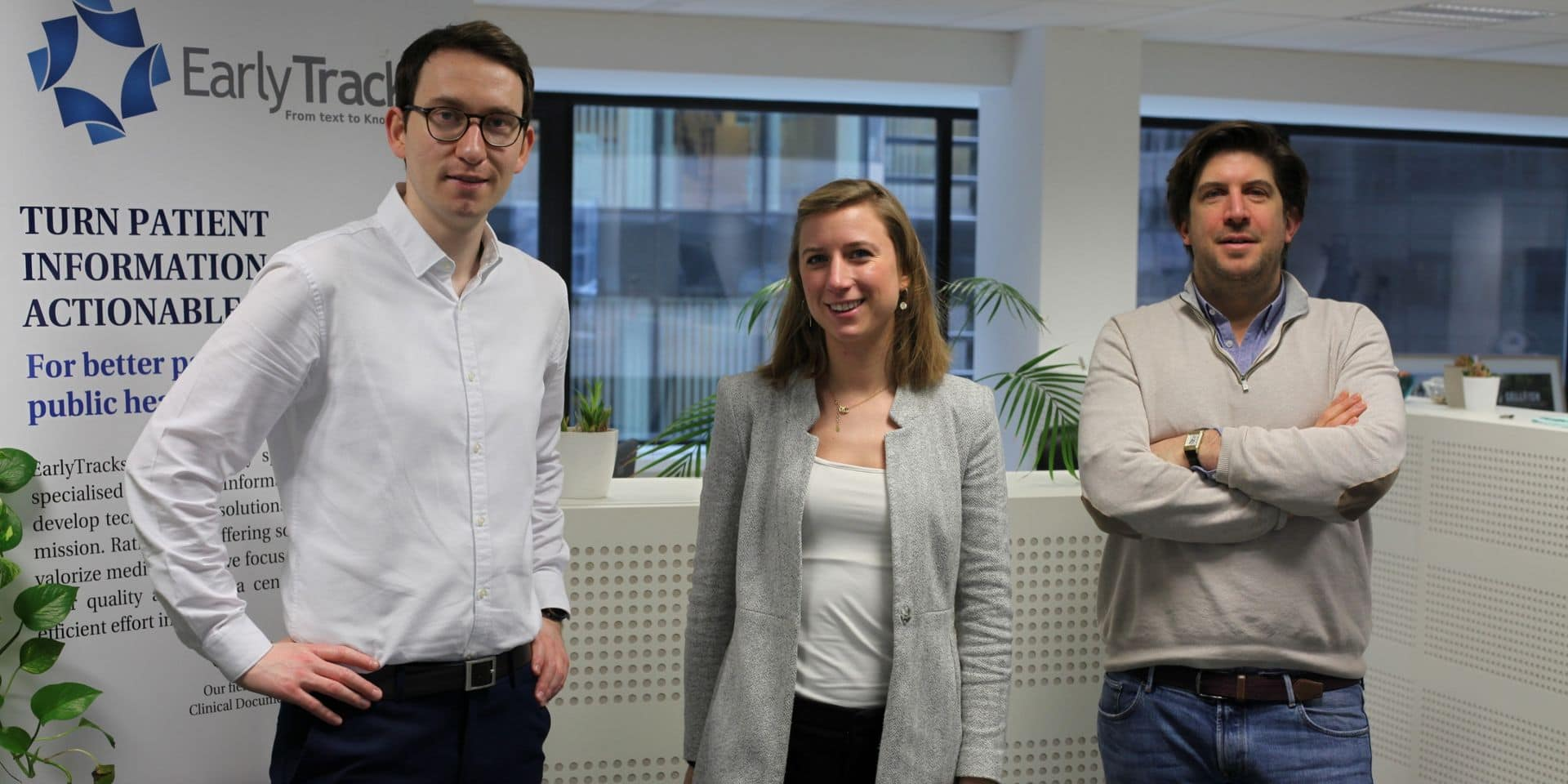 Hogne Ulla (Business Developer), Aline Mathey (Product Manager) et Brice de Behault (CEO).
