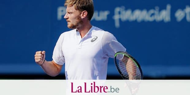 David Goffin, of Belgium, reacts in the men's final match against Daniil Medvedev, of Russia, during the Western & Southern Open tennis tournament Sunday, Aug. 18, 2019, in Mason, Ohio. (AP Photo/John Minchillo)