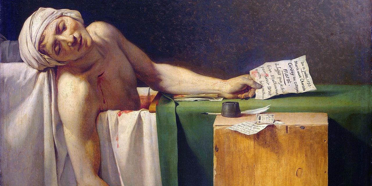 A l'origine de cette oeuvre dédiée au martyre Marat, un assassinat perpétré par une femme déterminée
