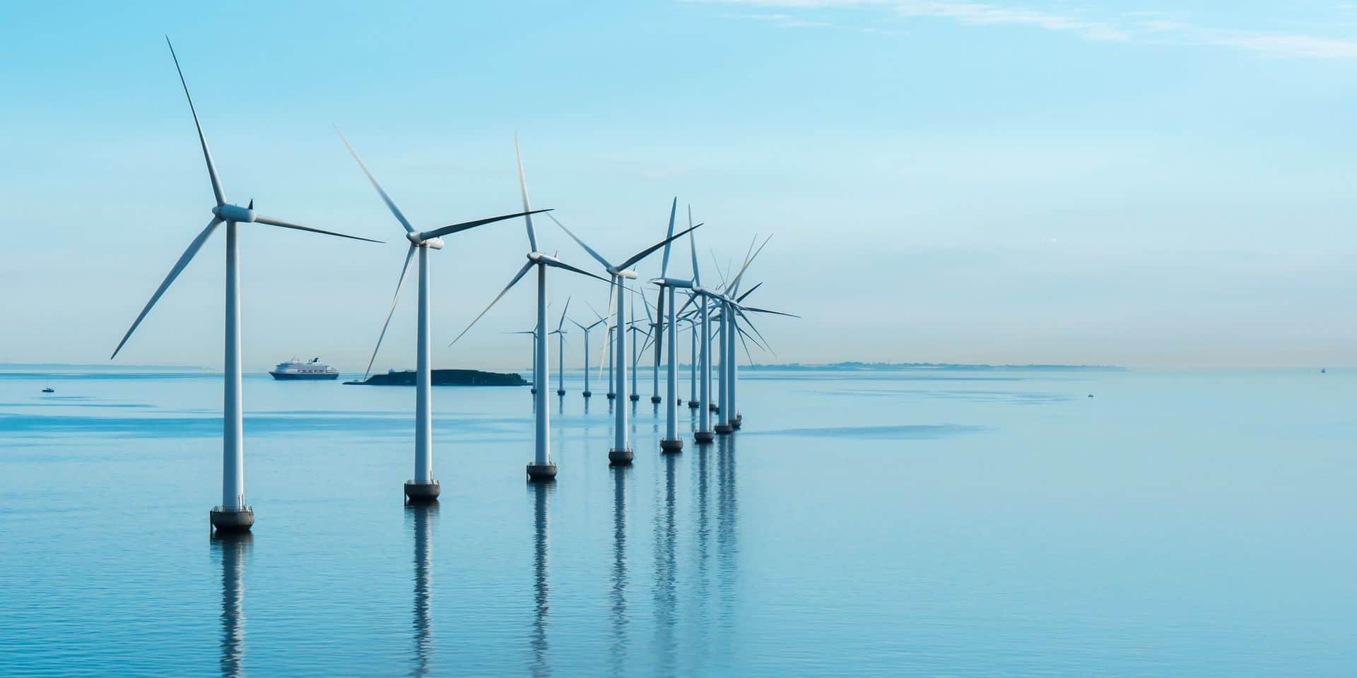 Le projet mené par EDF et RTE comptera 46 très hautes éoliennes sur une superficie de 55 km. (Illu.)