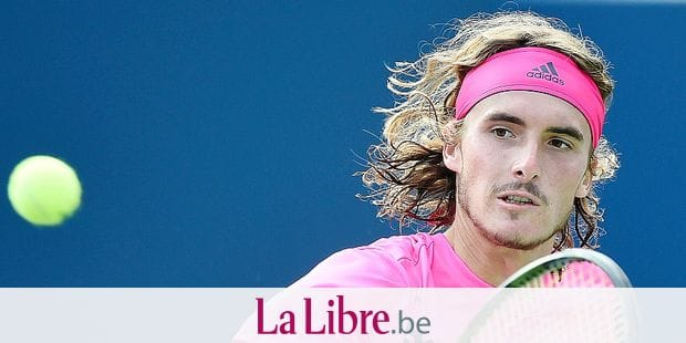 Stefanos Tsitsipas, of Greece, returns to Rafael Nadal, of Spain, during the final of the Rogers Cup men's tennis tournament in Toronto, Sunday, Aug. 12, 2018. (Nathan Denette/The Canadian Press via AP)