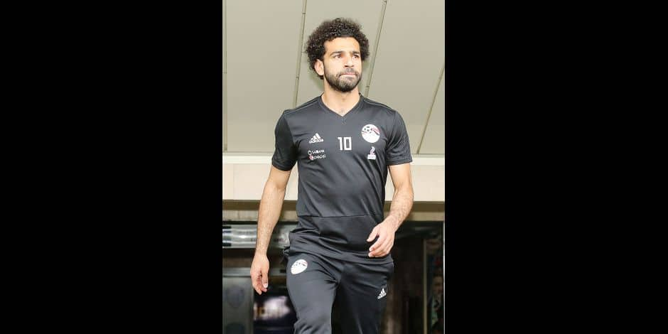 Egypt's forward Mohamed Salah arrives for a training session at the Akhmat Arena stadium in Grozny on June 17, 2018, ahead of the team's Russia World Cup 2018 Group A football match against Russia. / AFP PHOTO / KARIM JAAFAR