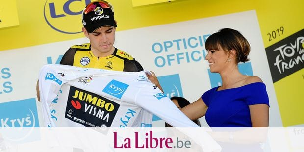 Belgian Wout Van Aert of Team Jumbo-Visma celebrates on the podium in the white jersey for best young rider after the fifth stage of the 106th edition of the Tour de France cycling race, 175,5 km from Saint-Die-des-Vosges to Colmar, Wednesday 10 July 2019. This year's Tour de France starts in Brussels and takes place from July 6th to July 28th. BELGA PHOTO YORICK JANSENS
