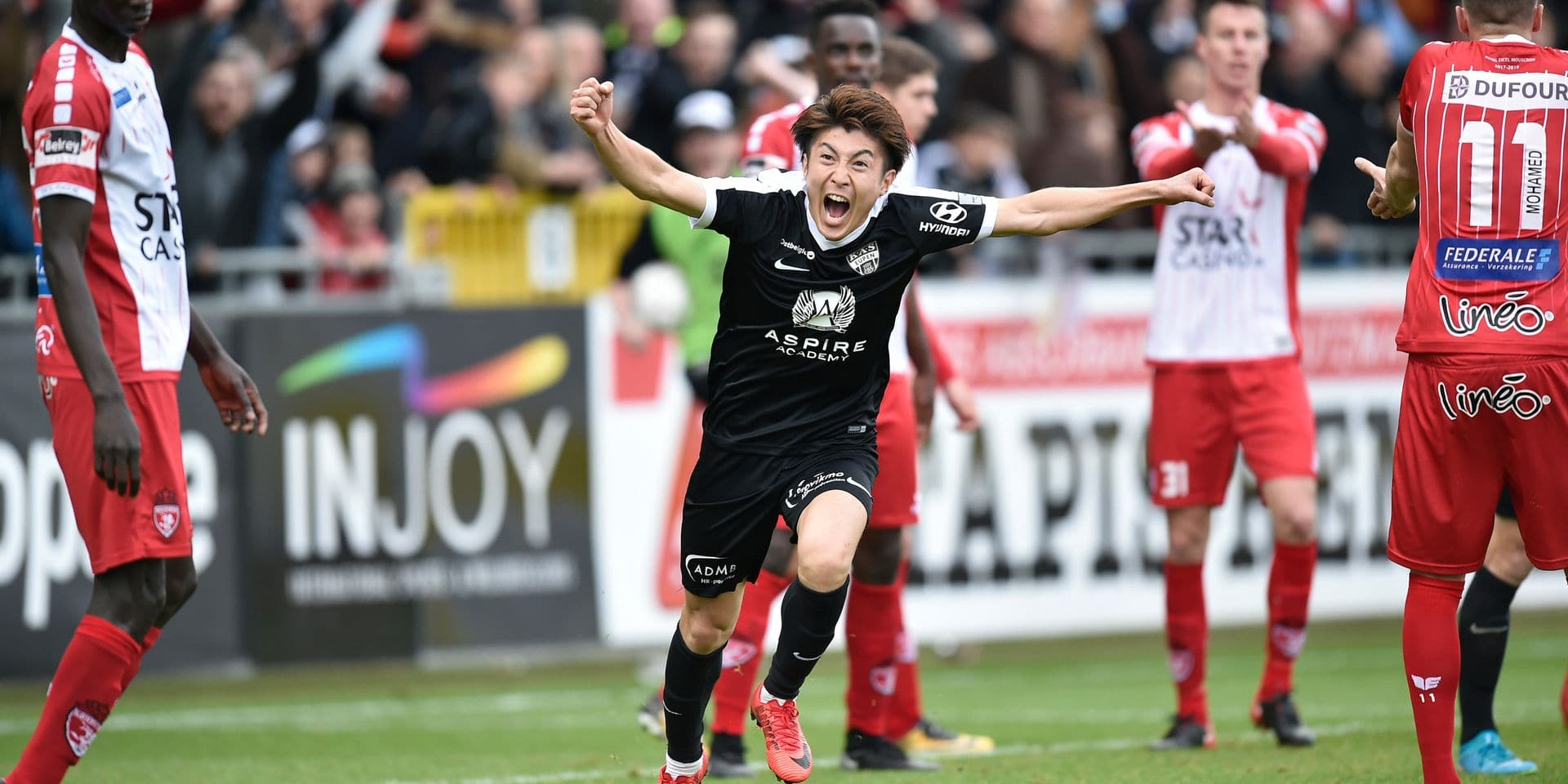 Eupen's Yuta Toyokawa celebrates after scoring during the Jupiler Pro League match between KAS Eupen and Royal Excel Mouscron, in Eupen, Sunday 11 March 2018, on day 30 of the Jupiler Pro League, the Belgian soccer championship season 2017-2018. BELGA PHOTO JOHN THYS