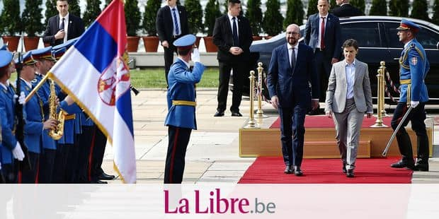 Belgian Prime Minister Charles Michel and Prime Minister of Serbia Ana Brnabic arrive for a diplomatic meeting in Belgrade, Serbia, Tuesday 24 April 2018, on the second day of a two day visit of the Belgian Prime Minister to Albania and Serbia. BELGA PHOTO ERIC LALMAND